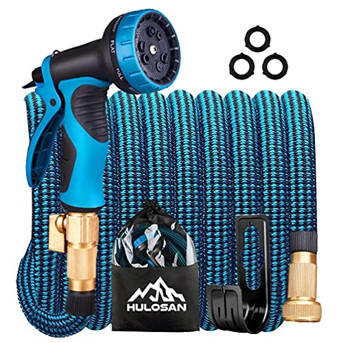 """HULOSAN Expandable Garden Hose, Water Hose with 9 Function Spray Nozzle, No Kink Leakproof Lightweight Garden Hose with 3/4"""" Brass Fittings and Extra Strength 3750D Fabric for Watering & Washing 50ft"""