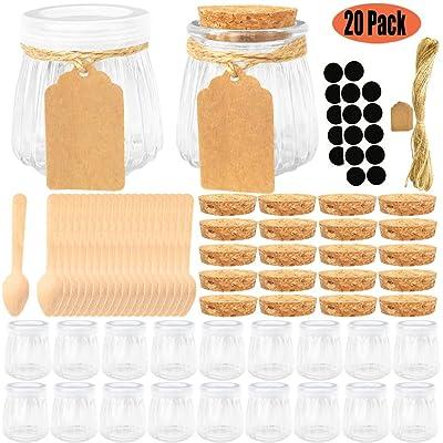 Folinstall 20 Pcs 4 oz Glass Jars with Lids - Y...