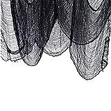WELLXUNK® Garza Panno Di Halloween, Decorazione Di Halloween, Panno Raccapricciante, Creando Un'Atmosfera Di Decorazione Per Le Vacanze Di Halloween Horror Utilizzata Su Mobili e Pareti o Porta (Nero)