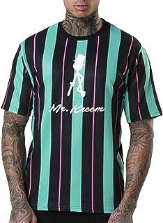 Mens Streetwear Hip Hop Hipster Stripe Color Block Printed T-Shirts