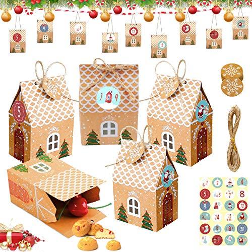 Sunshine smile Scatole Regalo di Natale,Scatole Caramelle di Natale,Scatole in Carta Regalo,Scatole di Carta per Biscotti,Piccoli Natale scatole Regalo Natalizie,Feste Natalizie Forniture (24-1)