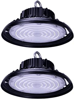 CY LED 150W UFO LED High Bay Lighting, UL Listed, 300W HPS/MH Bulbs Equivalent, 18500lm, Waterproof, Daylight White, 6000K, 120¡ã Beam, Super Bright Commercial Lighting, LED High Bay Lights Pack Of 2