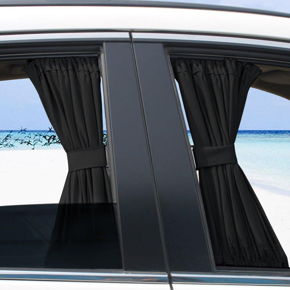 SANON 2 X 50S Auto Sonnenschutz Fenstervorhang Verstellbar Sonnenschutz Drapieren Visier Volant Vorhang Beige