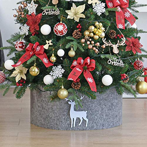 JOEYFAYE Christmas Tree Collar 2pcs, Christmas Tree Skirt Grey Under Tree Decorations, Christmas Tree Basket (120cm)