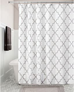 "iDesign Moroccan Trellis Fabric Polyester Shower Curtain, 72"" x 72"" - Stone"