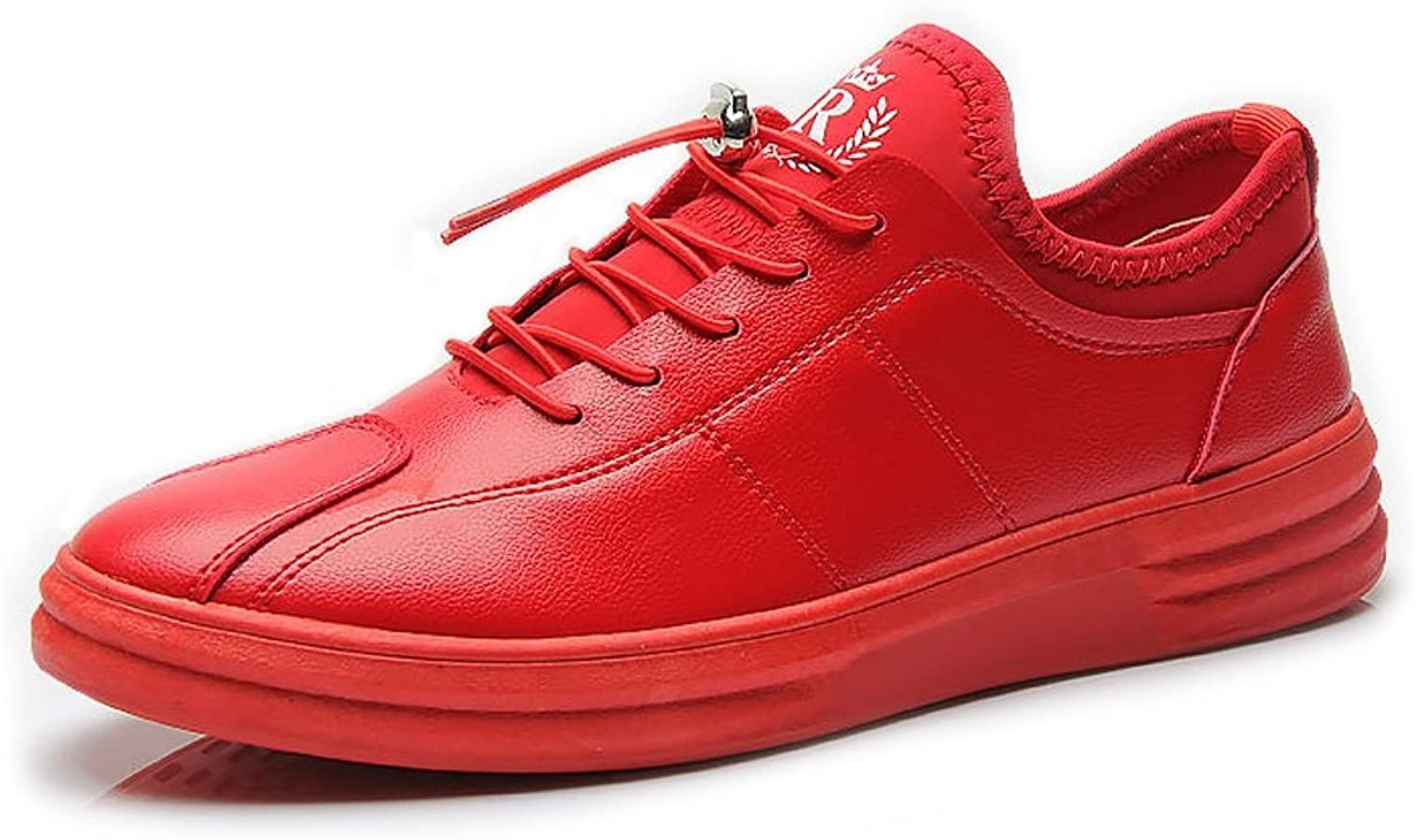 MUMUWU Men's Flat Sport shoes Casual Loafers Lace Up Adjusted Non-slip PU Leather Ankle Sneakers carrier