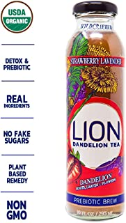 LION Organic Bottled Dandelion Tea | Prebiotic Tea Full of Antioxidants | Strawberry Lavender | 12 Pack