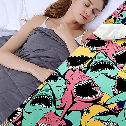 Weighted Blanket Adult mit Bettbezug,4.5kg Warme Gravity Decke für das Körpergewicht 49-63kg Therapie Angst Autismus Schlaflosigkeit Stressabbau Schlafeffekt,152x203cm,Farbe