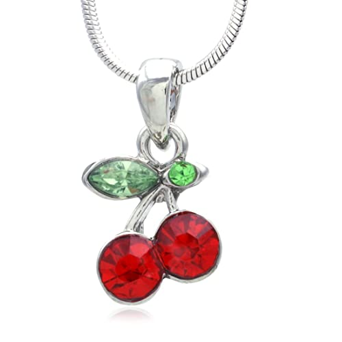 89d3cbada SoulBreeze Red Summer Cherry Necklace Fruit Pendant Charm Gift Fashion  Jewelry for Women Mom