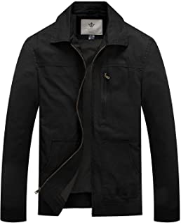 WenVen Men's Causal Cotton Long Sleeve Windbreaker Jacket