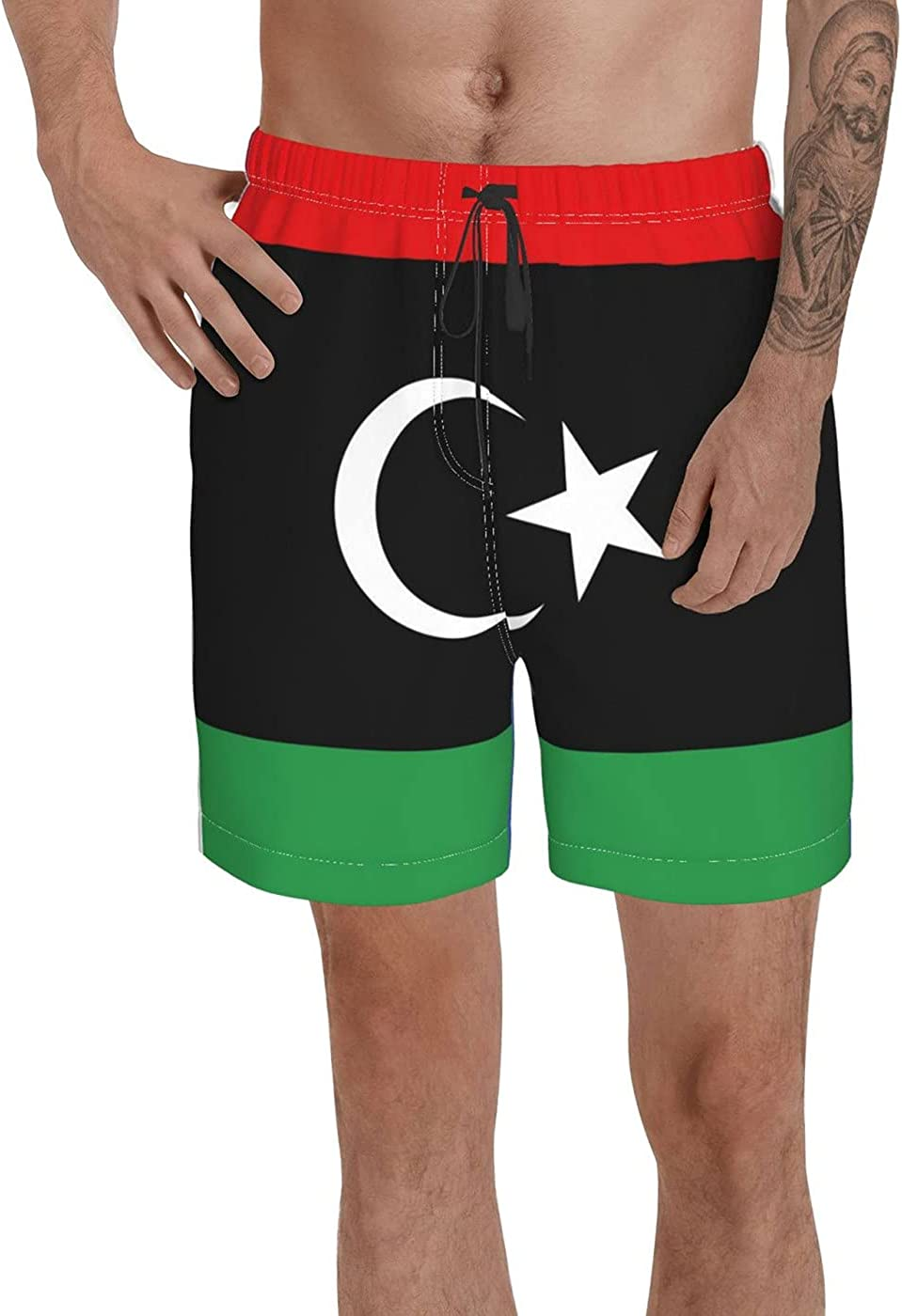Count Libya Flag Men's 3D Printed Funny Summer Quick Dry Swim Short Board Shorts with