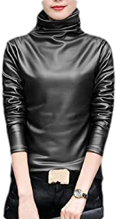 Loyomobak Womens Long Sleeve Fleece Tops Turtleneck Slim Fit Fashion Winter Faux Leather T-shirt