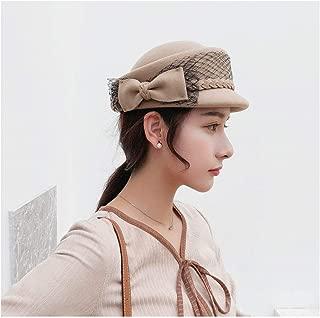 QinMei Zhou 2018 Wool Felt Fedoras Bow lace Autumn Winter Hats for Women Forward Hat For Lady Newsboy Cap