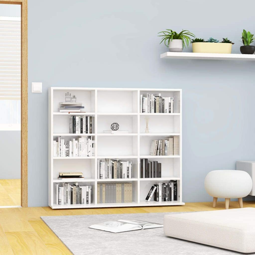 INLIFE CD Cabinet with Max 87% OFF 15 Open Media Regular store Compartments Chipboard DVDs