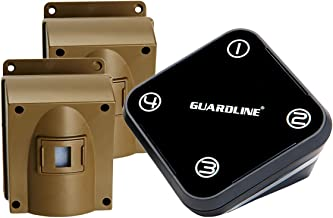 Guardline Wireless Driveway Alarm w/Two Sensors Kit Outdoor Weather Resistant Motion Sensor/Detector- Best DIY Security Alert System- Protect Home, Perimeter, Yard, Garage, Gate, Pool.