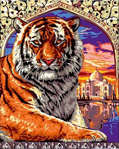 Lsdakoop Maluj według numerów Taj Mahal Tiger DIY obraz olejny według liczb z pędzlem i farbą akrylową odpowiedni dla dorosłych dzieci studentów początkujących 40 x 50 cm (bez ramy)