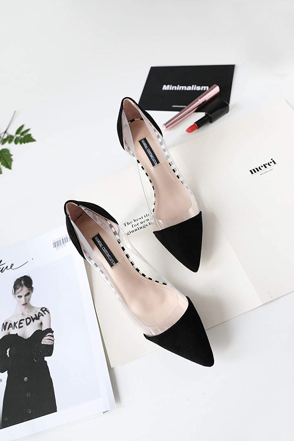 HOESCZS Frauen Single Schuhe Spitz Flach Mund Stiletto High Heel Transparent Leder Damenschuhe B07J1ZZYGK  Sport