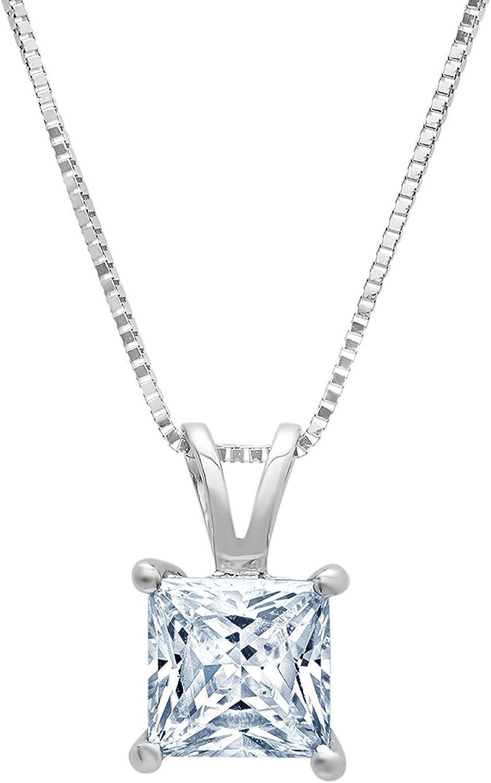 1.0 ct Brilliant Princess Cut Designer Genuine Natural Light Blue Aquamarine Ideal VVS1 Solitaire Pendant Necklace With 16