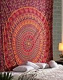 Wandbehang Mandala Hippie Kamel Wandteppich rot - 228x213 cm - Dekorativer Elefant großes Mandala indisches Wandtuch Böhmischer Tapestry für Wohnzimmer Dekor, Schlafzimmer wandteppiche