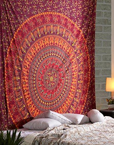 RAJRANG BRINGING RAJASTHAN TO YOU Wandbehang Tapisserie - 228 x 213 cm - mandalarote Tapisserie in Queen Size Größe, große schöne böhmische Tapisserien für Bettdecken