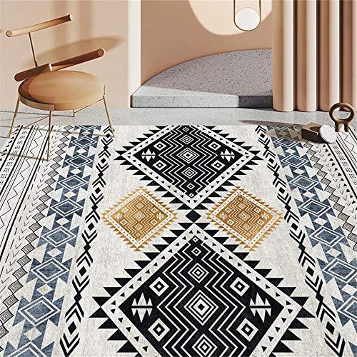 Dywan do pokoju młodzieżowego dziewczynki miękki dywan do salonu i sypialni z kolorowym geometrycznym wzorem, towar do wykładania, do pokoju dziecięcego, czarny, 60 x 90 cm
