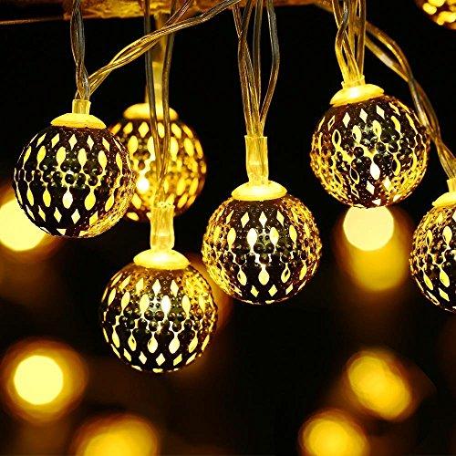 lederTEK Stringa di Luci 30 LED con Batteria Striscia di 3.3m Arredare con Stile Marocchino per il Partito, Natale, Capodanno, Terrazza (Bianco Caldo)