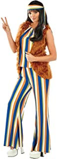 Womens 70s Decades Costumes 1970s Hippie Flares Disco Rainbow Outfits