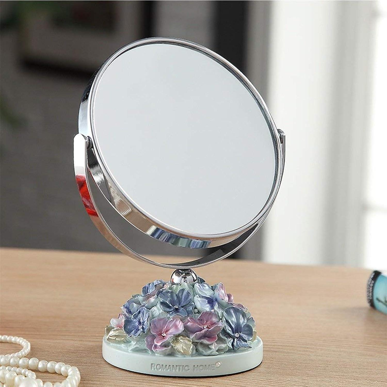 SMC Mirror Home Adjustable Desktop Beauty Mirror Cute Garden Double-Sided Vanity Mirror (color   Pink bluee, Size   Small)