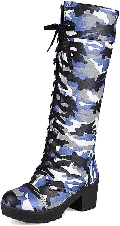 AllhqFashion Women's Round Closed Toe Kitten-Heels Soft Material High-top Boots