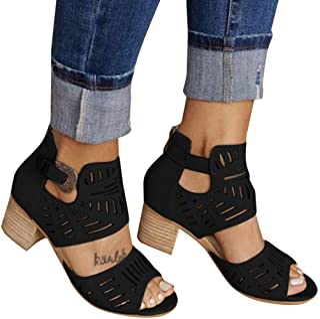 Padaleks Women's Sandals Summer Flock Breathable Ankle Buckle Straps Peep Toe High Heels Casual Pumps Shoes