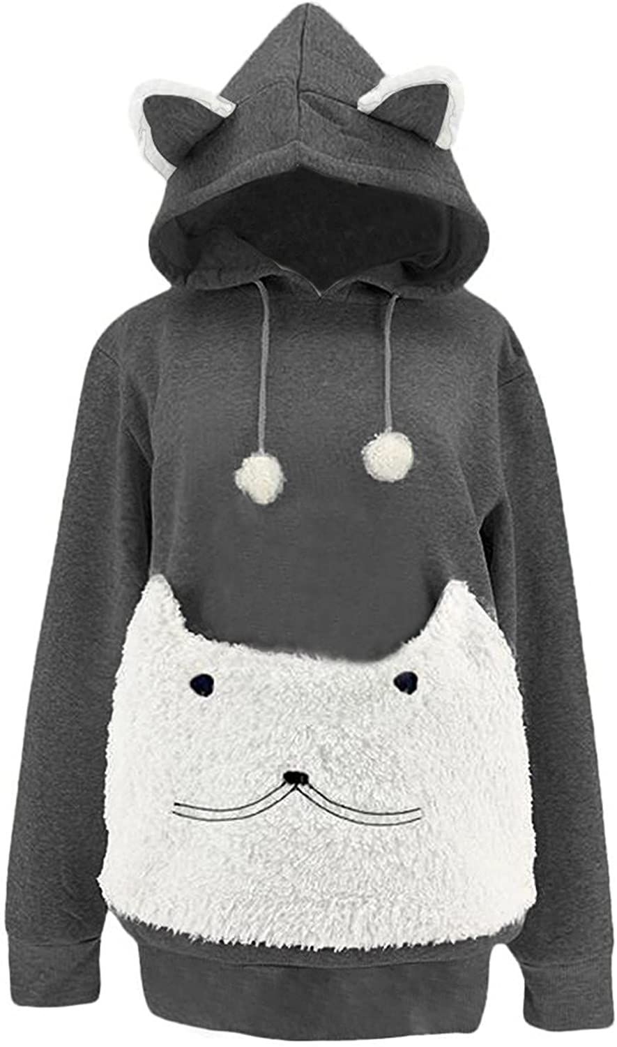 Womens Cat Sweatshirt Animal Pouch Long Sleeve Hooded Pullover Pocket Top Blouse