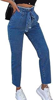 d2c4601b3ebc8 Jeans Pantalon Femmes,Haute Garnitures Slim Denim Skinny Ceinture Plus Size Taille  Pantalons Bringbring