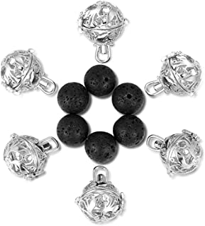 Afantti 6Pcs Small Size Lava Cage Locket Pendants with 6 Diffuser Beads Balls Kit Set for Essential Oils Jewelry Making, Silver