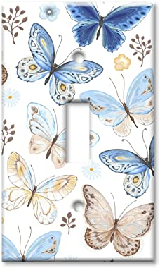 Art Plates 1-Gang Toggle OVERSIZED Switch Plate/OVER SIZE Wall Plate - Blue & Tan Butterfly Toss