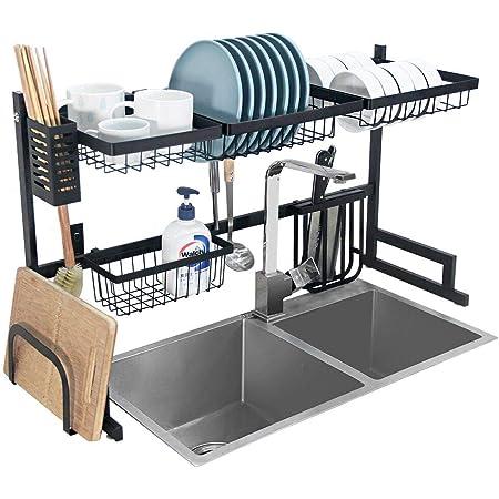 Dish Drying Rack Over Sink Kitchen Supplies Storage Shelf Countertop Space Saver Display Stand Tableware Drainer Organizer Utensils Holder Stainless Steel, Black