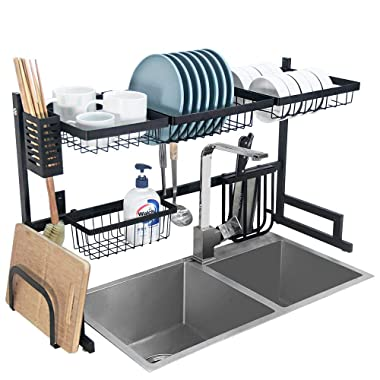 Dish Drying Rack Over Sink Kitchen Supplies Storage Shelf Countertop Space Saver Display Stand Tableware Drainer Organizer Utensils Holder Stainless Steel, Black