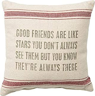 jonycm 45x45cm Estilo de Saco de harina a Rayas Vintage Friends Like Stars Funda de Almohada Decorativa Funda de cojín para sofá Oficina en casa Decorativa