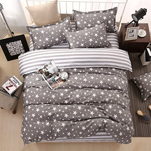 Galaxy espacio estrella impresión juego de funda de edredón y fundas de almohada doble Full Queen o King Reversible negro y blanco moderno juego de ropa