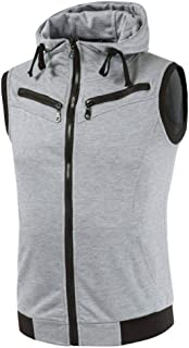 Mens Slim Fit Sleeveless Lightweight Zipper Drawstring Hooded Vest Jacket with Pockets