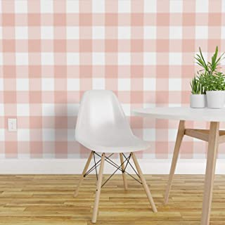 Spoonflower Peel and Stick Removable Wallpaper, Buffalo Check Messy Pink Gingham Large Blush Print, Self-Adhesive Wallpaper 12in x 24in Test Swatch