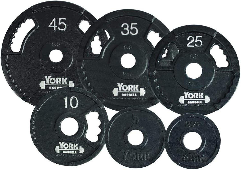 York Barbell 7425 G2 Olympic Dual Grip Thin Line Cast Iron Plate, Black, 45 lb