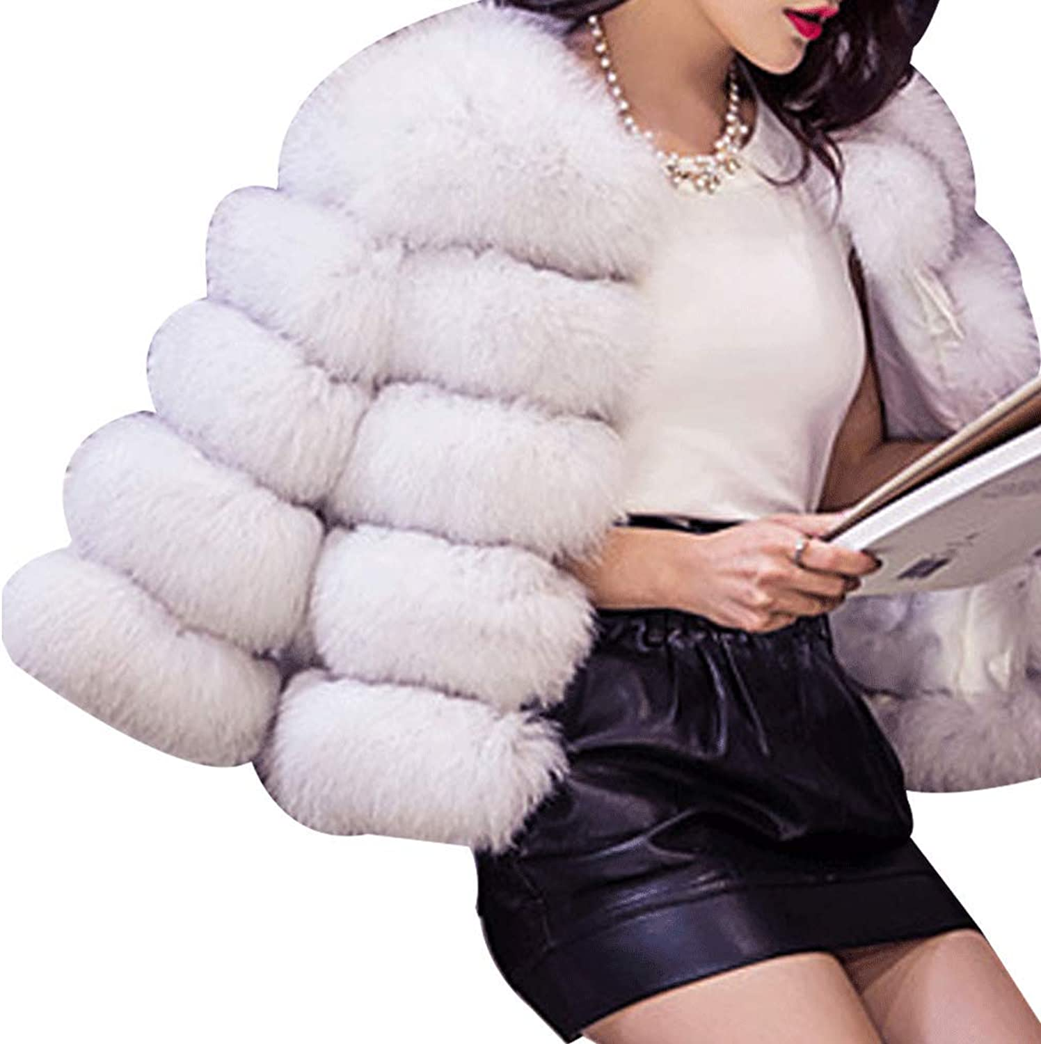 HIENAJ Women's Thick Winter Outerwear Coat Fashion Soft Short Fox Faux Fur Warm Jacket