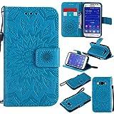 BoxTii Coque Galaxy Core Prime, Etui en Cuir de Première Qualité [avec Gratuit Protection D'écran en Verre Trempé], Housse Coque pour Samsung Galaxy Core Prime (#6 Bleu)