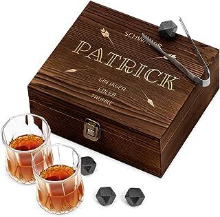 Murrano Whisky Steine Set - in Holzbox mit Gravur - 8 Eiswürfel  2 Whisky Gläser - wiederverwendbar - aus Granit - Geschenk für Männer - Jäger edler Trünke