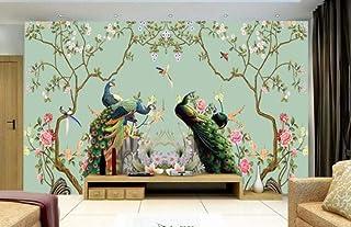 Papel pintado mural Pájaro floral del pavo real floral ilustración fondo de pantalla, 350 * 245cm