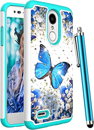 CAIYUNL for LG Aristo 2 Case, LG Tribute Dynasty, Zone 4, Fortune 2, K8 2018,K8 Plus,Risio 3,Rebel 3 LTE Bling Luxury Studded Rhinestone Girls Women Protective Dual Layer Hard Cover -A Blue Butterfly