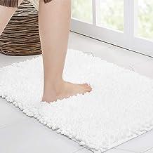 Walensee Large Bathroom Rug Non Slip Bath Mat (59x20 Inch White) Water Absorbent Super Soft Shaggy Chenille Machine Washab...