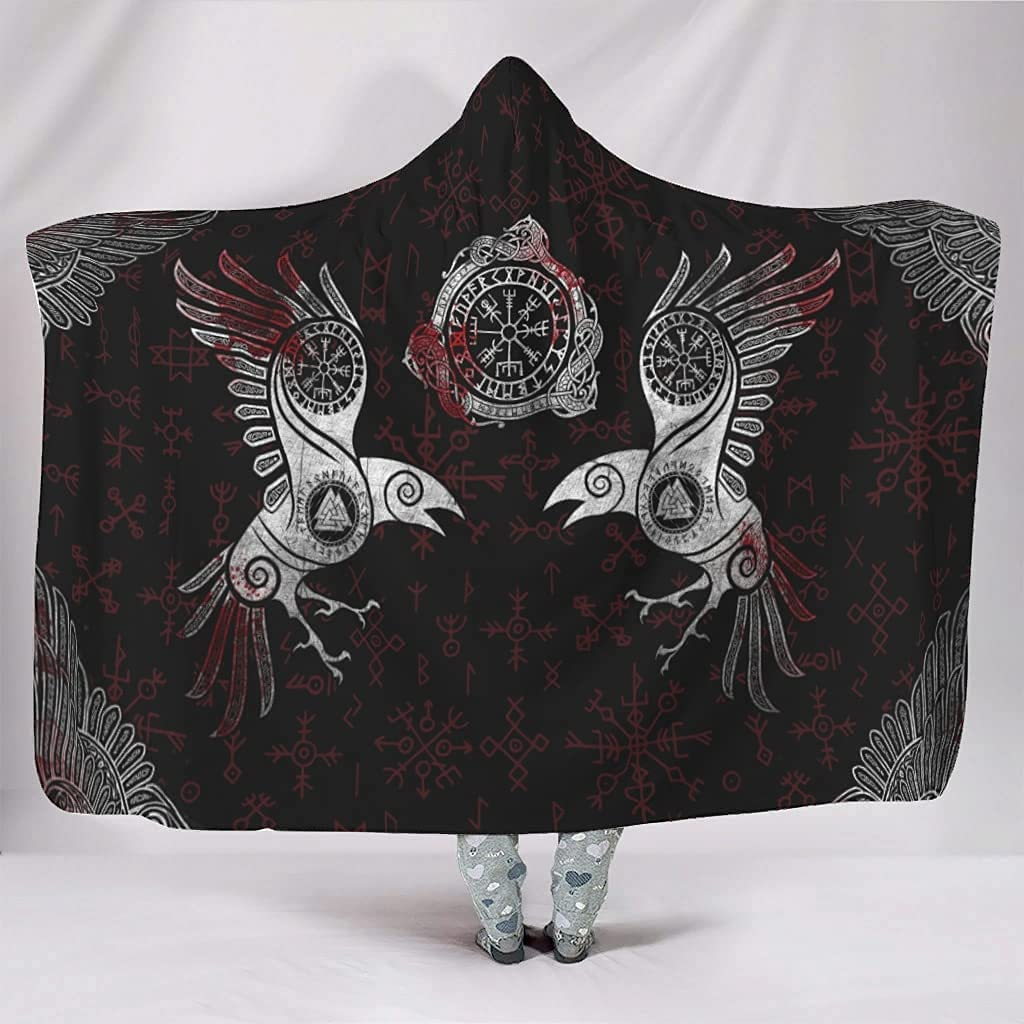 Hooded Blanket Viking Raven Wings Oversized New product Max 75% OFF type Wearable Hoo