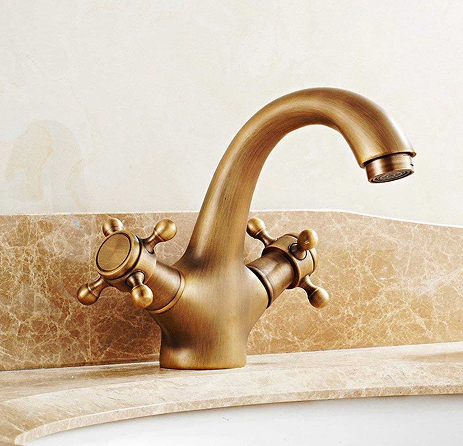 Oudan European style retro style copper Hot and cold redate Height up Wash basin Sink faucet