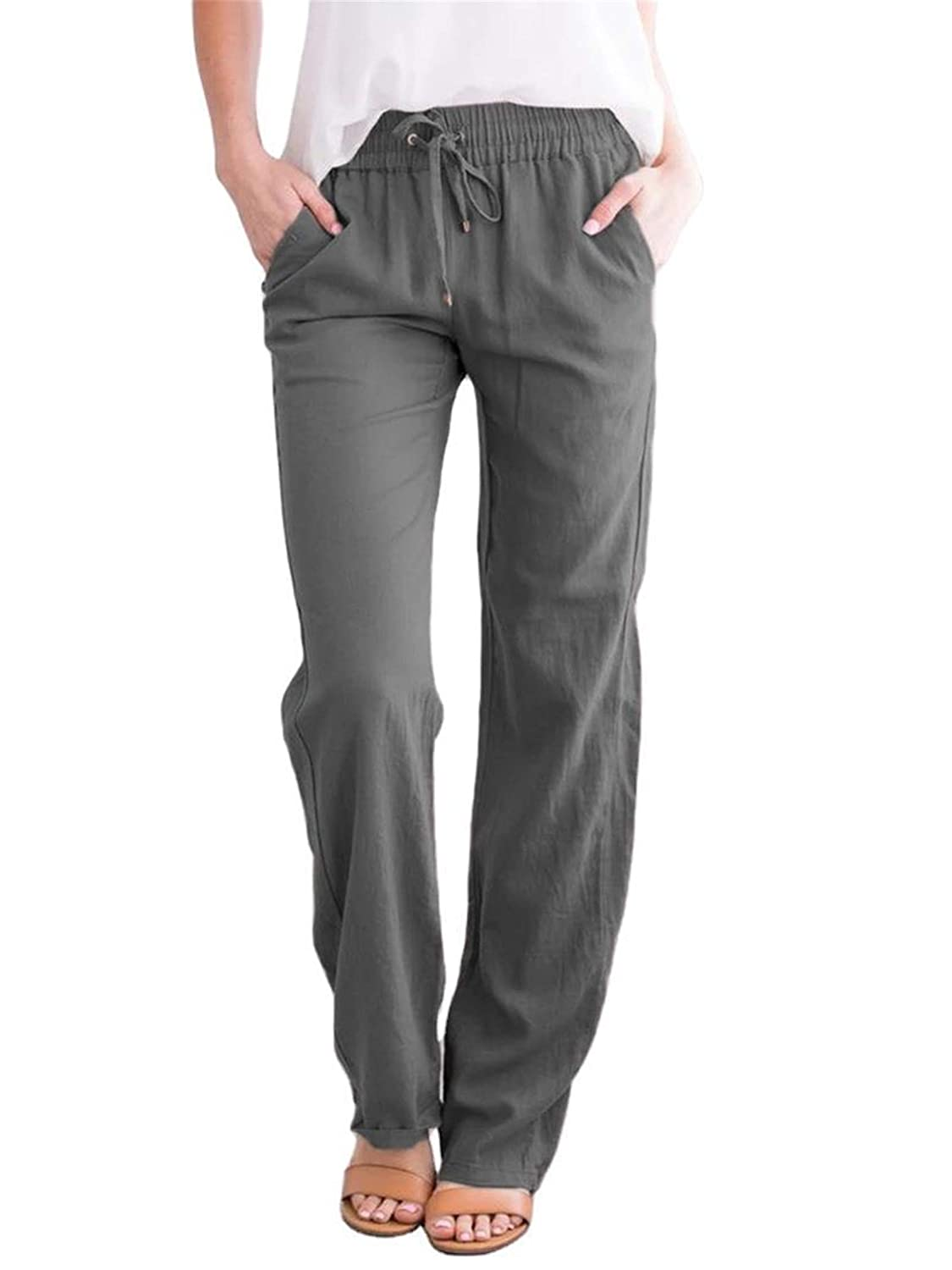 Women's Elastic Drawstring Tapered Pant Casual Linen Lightweight Pants Cotton Summer Trousers (XX-Large,Dark gray)